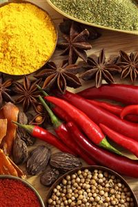Spices Seasonings Red Pepper Black Pepper Star Anise Onion Ginger Garlic Walnuts Bay Leaf iPhone 4s wallpaper