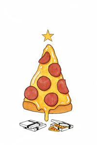 Pizza Christmas Tree Presents iPhone 4s wallpaper