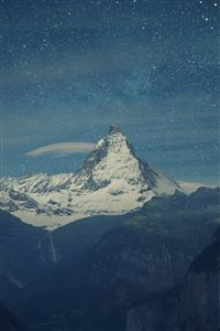Switzerland Alps Mountains Night Beautiful Landscape iPhone 4s wallpaper