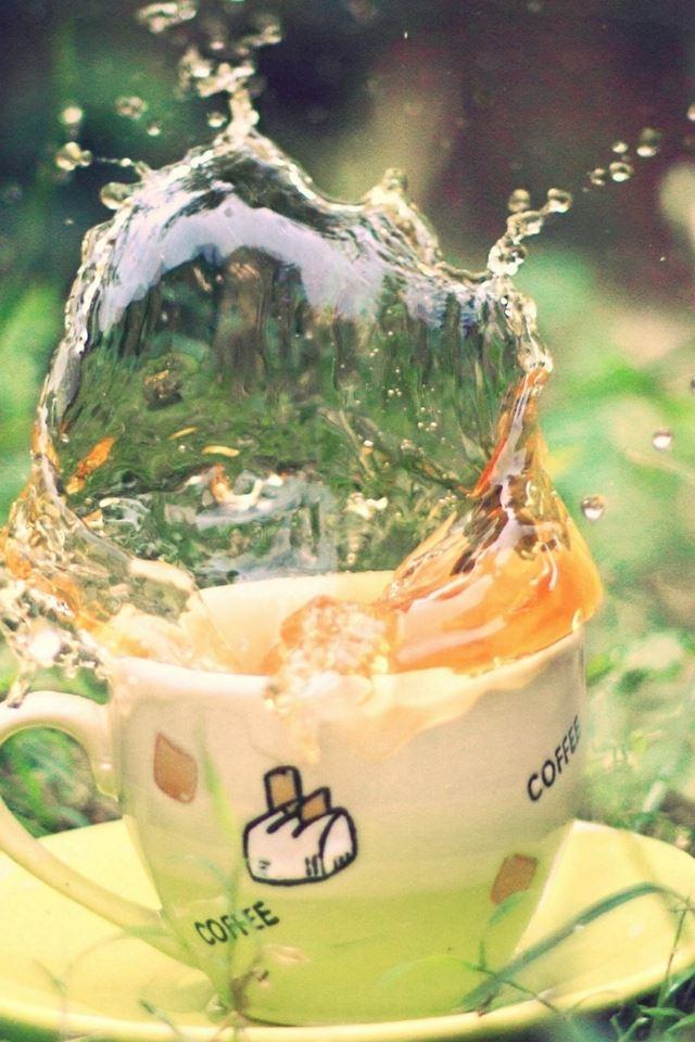 Tea Spray Earth Grass Saucer Green Cup iPhone 4s wallpaper