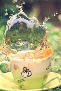 Tea Spray Earth Grass Saucer Green Cup iPhone 4s wallpaper