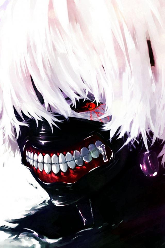 Tokyo Ghoul Kaneki Ken Man Mask Red Eyes White Hair iPhone 4s wallpaper