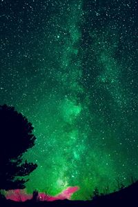 Aurora Night Sky Star Space Nature Green iPhone 4s wallpaper