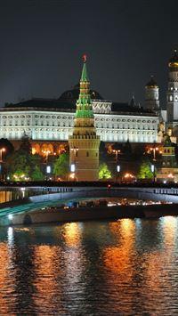 City Moscow Night Lights Bridge Reflection River iPhone 4s wallpaper