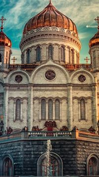 Cathedral Of Christ The Savior Russia Moscow iPhone 4s wallpaper