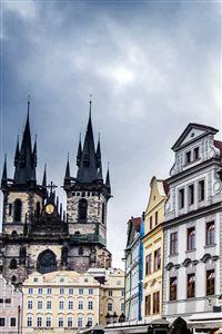 Czech Republic Prague Street Building Evening iPhone 4s wallpaper