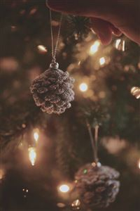Decorating Christmas Tree Pine Cones iPhone 4s wallpaper