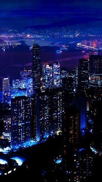 Night City Sky Skyscrapers iPhone 4s wallpaper