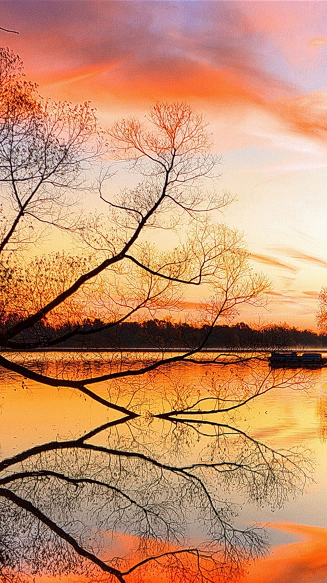 Lake Sunset Trees Landscape Beach Art Night Reflection iPhone 4s wallpaper