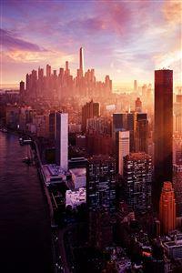 New York Sunset City Skyline iPhone 4s wallpaper