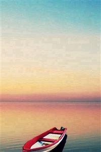 Summer Calm Lake Boat Skyline Landscape iPhone 4s wallpaper