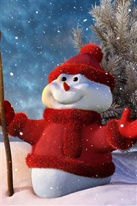 Christmas snowman iPhone 4s wallpaper