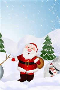Tree santa claus snowman iPhone 4s wallpaper