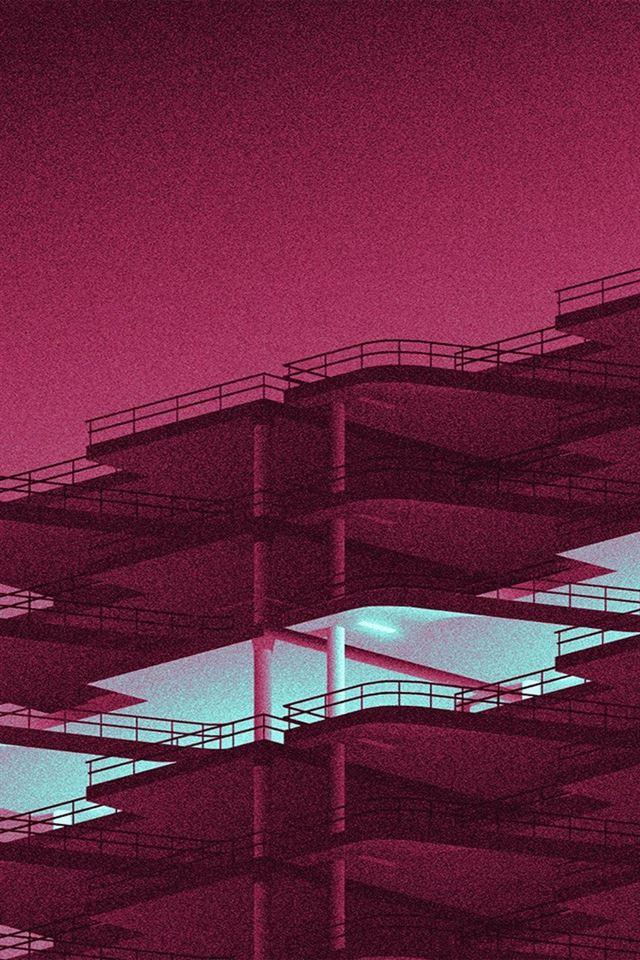 Architecture minimal red illustration art iPhone 4s wallpaper