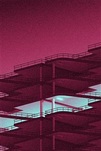 Architecture minimal red illustration art iPhone 4s wallpaper