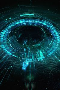 Circle blackhole blue digital illustration art iPhone 4s wallpaper