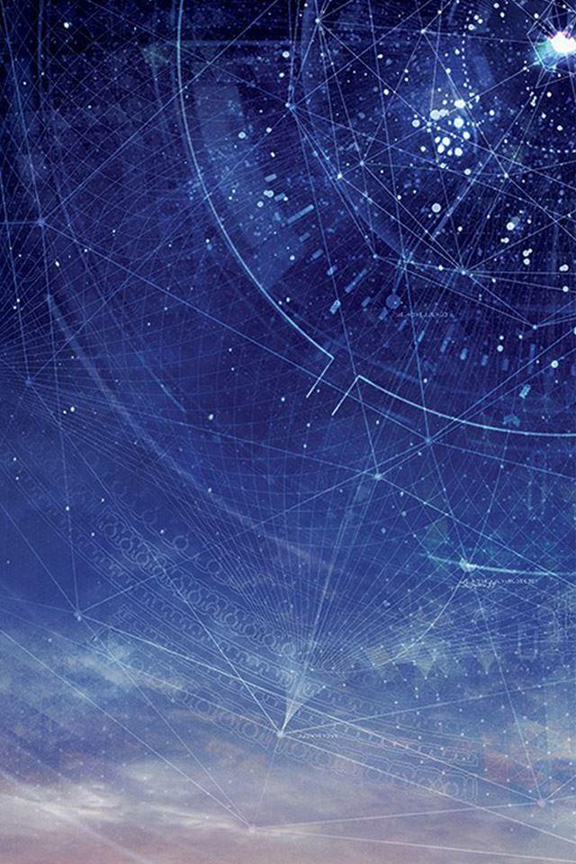 Digital space starry sky iPhone 4s wallpaper