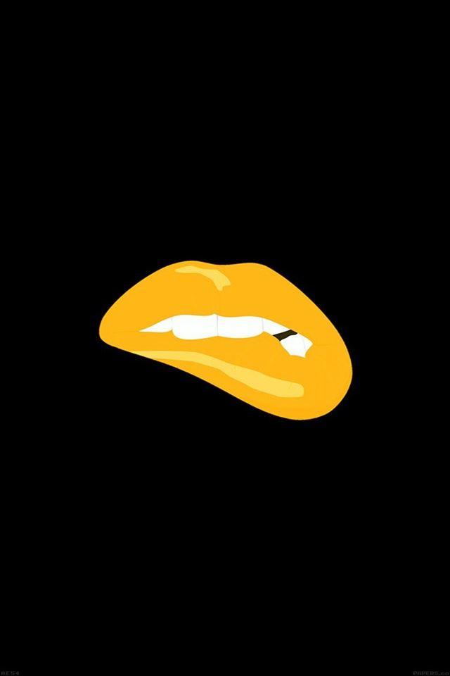 Biting lips gold black background minimal iPhone 4s wallpaper