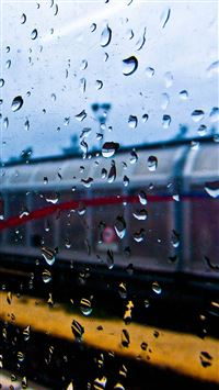 Rainy Train Window iPhone 8 wallpaper