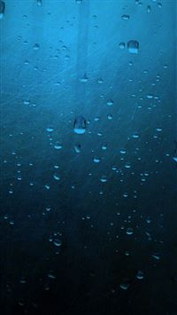 Minimalistic Blue Rain On Window iPhone 6(s)~8(s) wallpaper