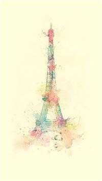 Eiffel Tower Watercolor Paint iPhone 8 wallpaper