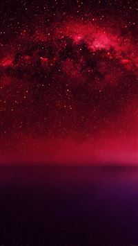 Cosmos Red Night Live Lake Space Starry iPhone 6(s)~8(s) wallpaper