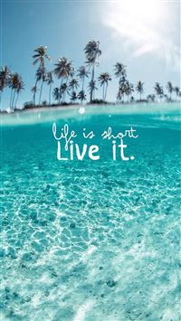 Wonderful Clear Ocean Beach Life Is About Live It iPhone 6(s)~8(s) wallpaper