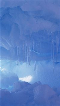 ... Winter Frozen Icicle Cave iPhone 8 wallpaper