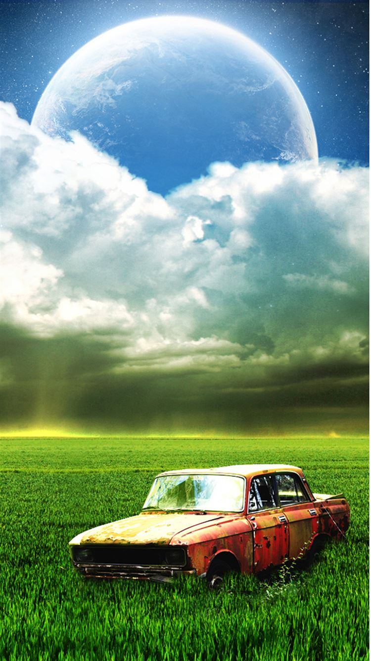 Vintage Old Car Grassland Outer Space Cloudy Shiny Planet IPhone 8 Wallpaper