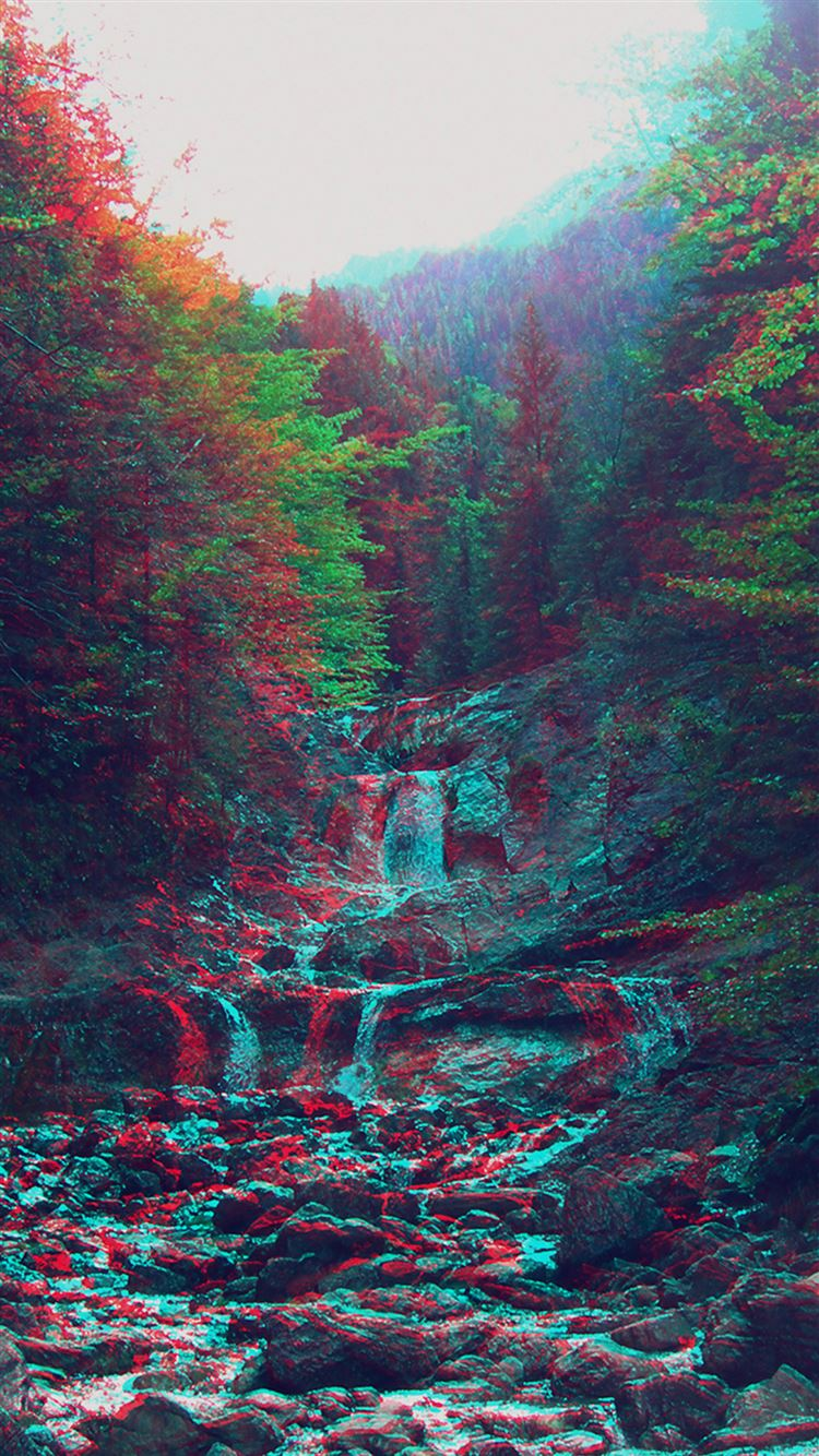 Anaglyph Mountain Green Nature Art IPhone 8 Wallpaper
