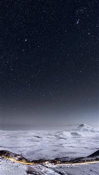 Night Stars Mountain Range Winter Landscape iPhone 6(s)~8(s) wallpaper
