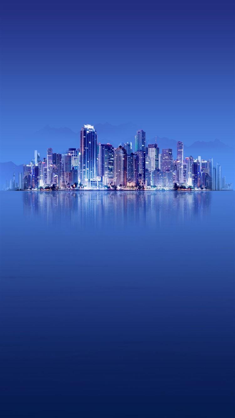 Skyscrapers Calm Sea Winner Landsape iPhone 8 wallpaper