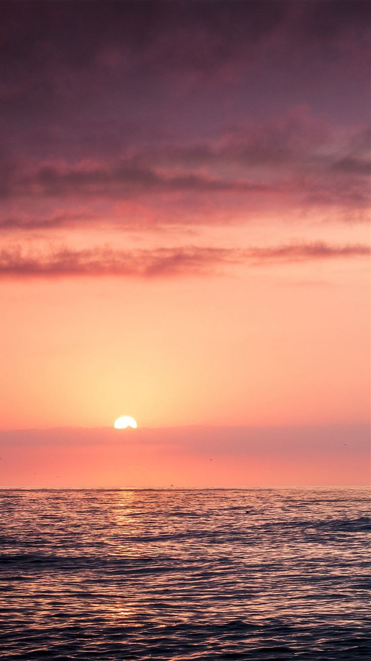 Sunset Sea Beach Sky Red IPhone 8 Wallpaper Download