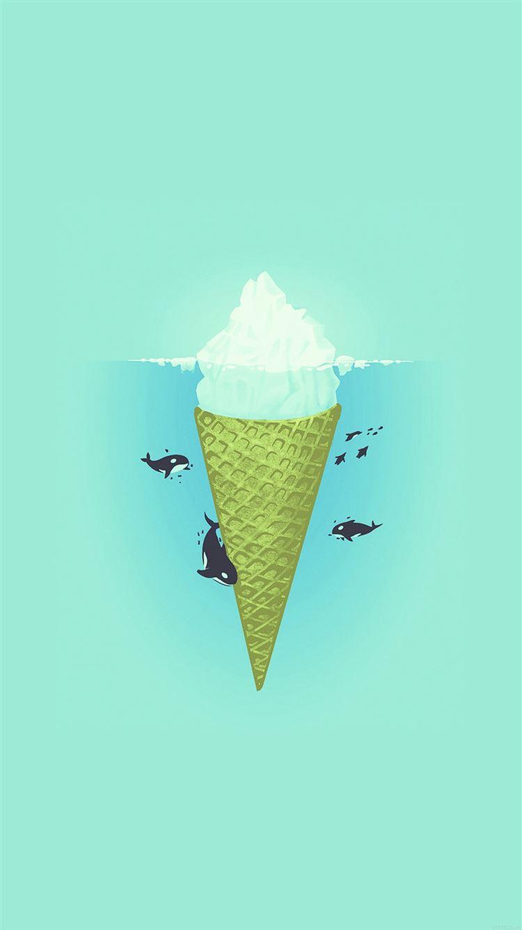 Whale Illust Green Sea Icecream Iiceberg iPhone 8 wallpaper