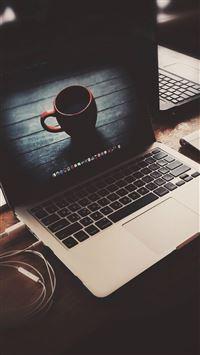Macbook Coffeen Cup Desk Elegant iPhone 8 wallpaper