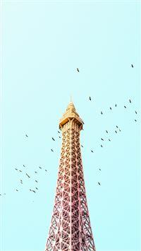Paris Eiffel Tower Birds Colorful iPhone 8 wallpaper