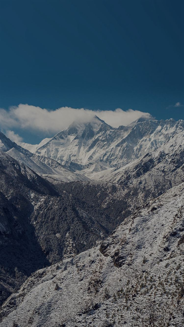 Winter Mountain Nature Snow Dark Alps iPhone 8 wallpaper