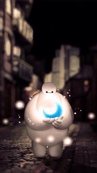 Baymax Holding Moon Dreamy Bokeh iPhone 6(s)~8(s) wallpaper