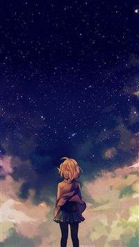 Starry Space Illust Anime Girl iPhone 6(s)~8(s) wallpaper