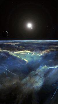 Space View Art Iillust Dark iPhone 8 wallpaper