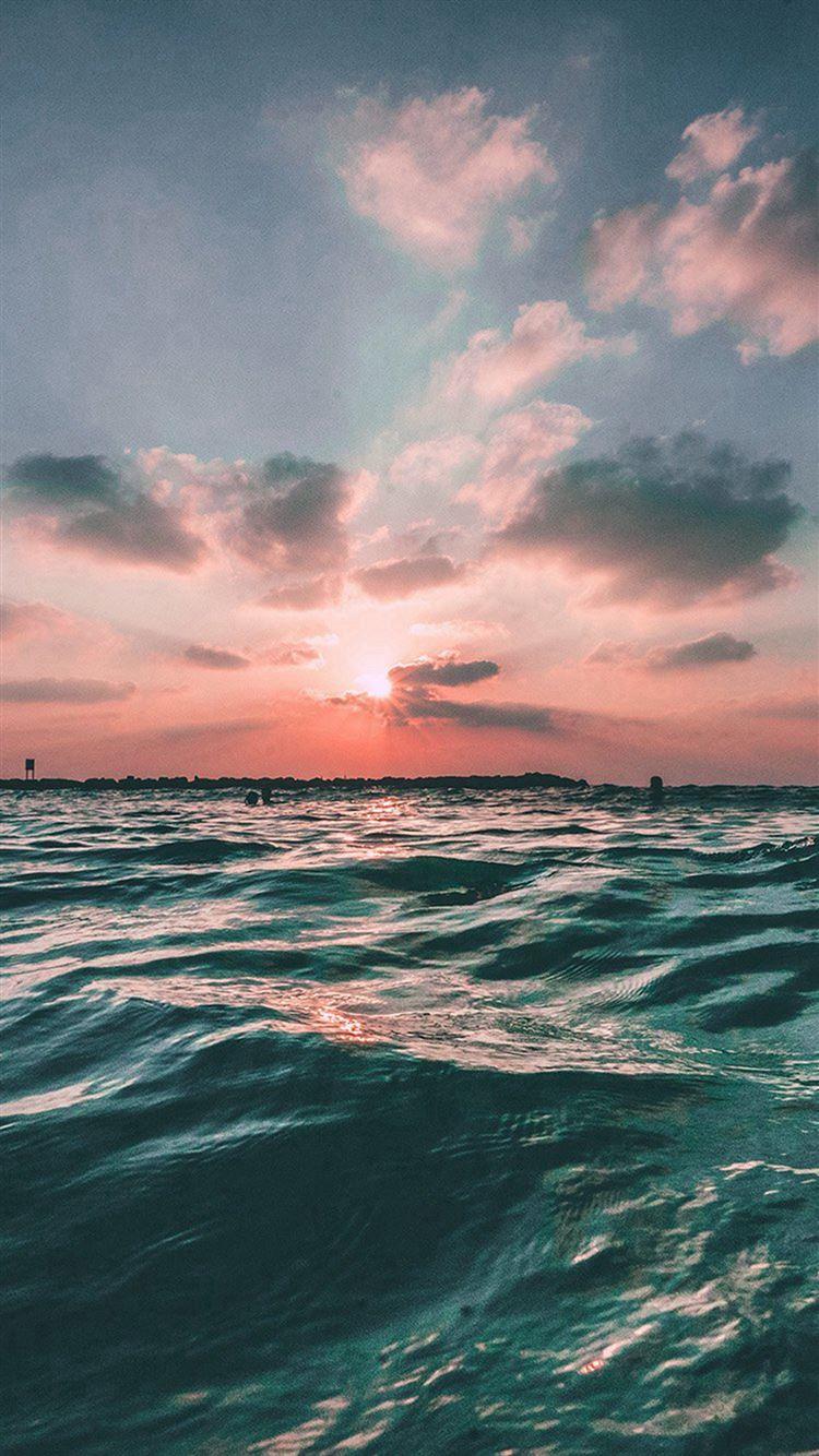 Sunset Sea Sky Ocean Summer Green Water Nature iPhone 8 wallpaper