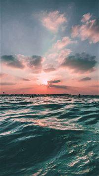 Sunset Sea Sky Ocean Summer Green Water Nature iPhone 6(s)~8(s) wallpaper