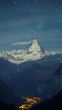 Matterhorn Mountain Switzerland Blue Night  iPhone 8 wallpaper