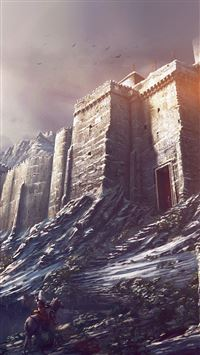 Game Illustration Castle Snow Winter Flare iPhone 8 wallpaper