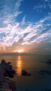 Sunset Sky Cloud Sea Rock Bridge Nature iPhone 8 wallpaper