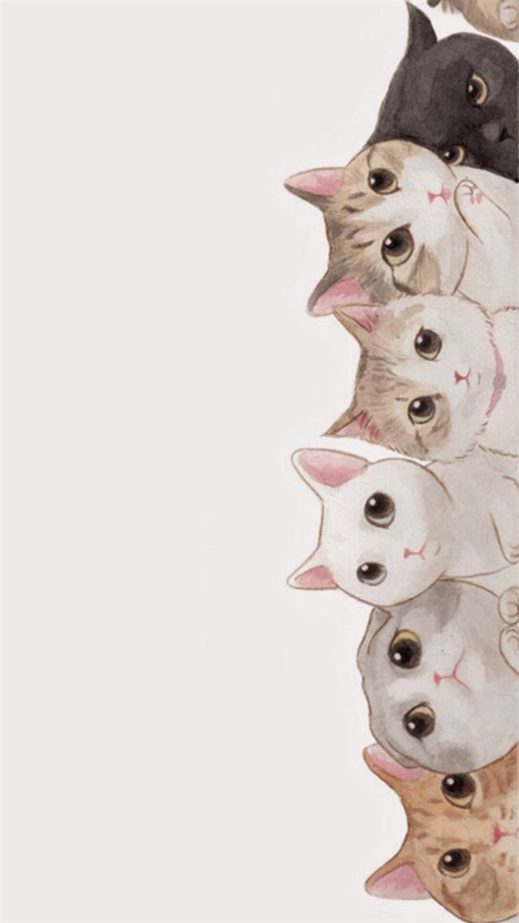 cute cats vertical aligned illustration iphone 8 wallpaper download