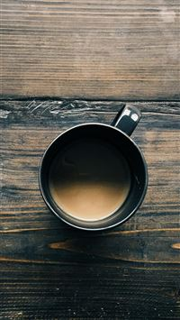 Coffee Cup On Wooden Table iPhone 8 wallpaper