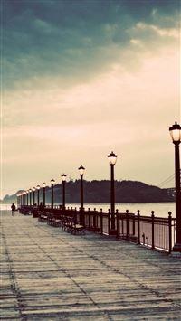 Long Street Pier Skyscape Scenery iPhone 8 wallpaper