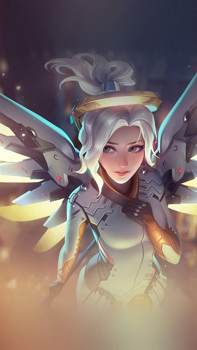 Mercy Overwatch Angel Healer Game Art Illustration IPhone 8 Wallpaper