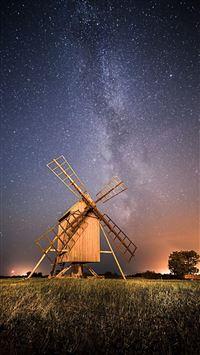 Night Wide Pinwheel Starry Skyscape Grassland iPhone 8 wallpaper